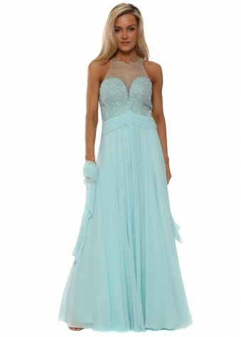 Mint Pearl & Diamante Chiffon Evening Dress