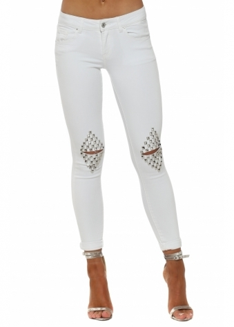 White Stretch Fit Ripped Studded Knee Jeans