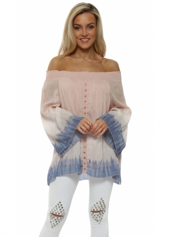 Pink Tie Dye Star Studded Off The Shoulder Top