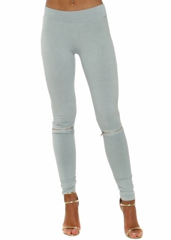 Flasher Zip Detail Julep Grey Jersey Leggings