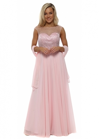 Baby Pink Pearl & Diamante Chiffon Evening Dress