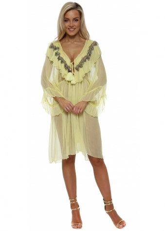 Canary Yellow Ruffled Jewelled Kaftan Dress