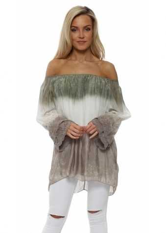 Khaki Tie Dye Lace Cuff Off The Shoulder Top