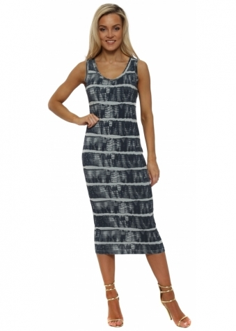 Ivy Ibiza Tie Dye Julep Grey Midi Dress