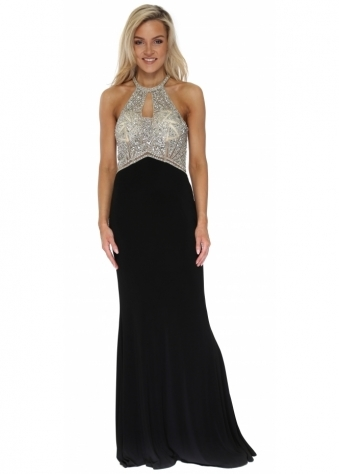 Black Diamante Racer Back Evening Dress