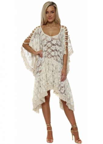 Beige Lace Pearl Embellished Cold Shoulder Kaftan Dress