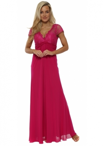 Magenta Lace Cap Sleeve Maxi Dress