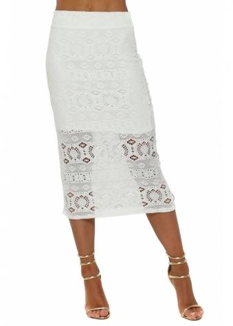 Casey Vanilla Crochet Lace Midi Skirt