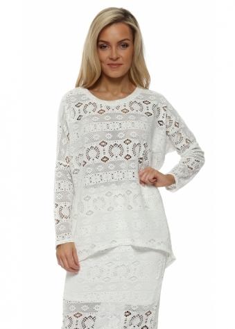 Cassie Vanilla Crochet Lace Crush Long Sleeve Top