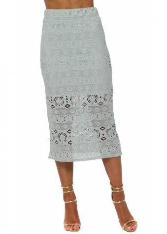 Casey Julep Grey Crochet Lace Midi Skirt