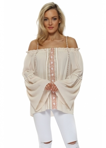 Smoke Nude Embroidered Panel Cold Shoulder Top