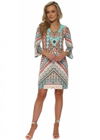 Multicolour Geometric Print Sequinned Dress