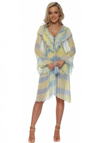 Blue & Yellow Ruffled Jewelled Kaftan Dress