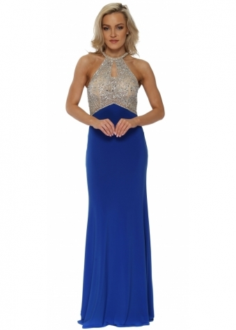 Cobalt Blue Diamante Racer Back Evening Dress