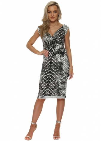Monochrome Sleeveless Midi Dress With Tie Side