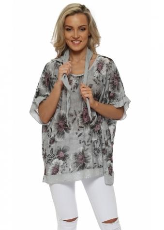 Grey Floral Print Slub Knit Sequinned Top