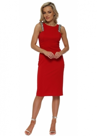 Red Sequinned Strap Mesh Back Pencil Dress