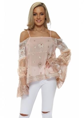 Pink Sequins & Lace Cold Shoulder Top