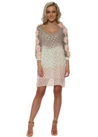 Peach Ombre Gold Foil Floral Diamante Shift Dress