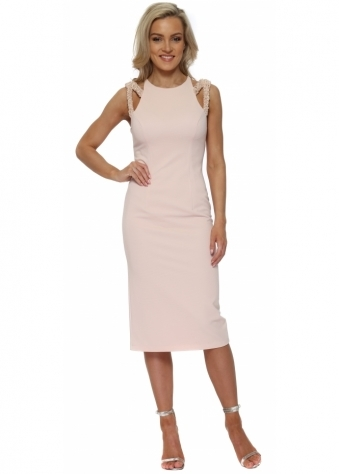 Baby Pink Jewelled Strap Pencil Dress