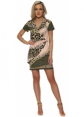 Khaki & Peach Chain & Leopard Print Wrap Dress