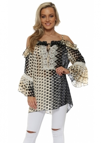 Black & Cream Spot Ruffle Cold Shoulder Top