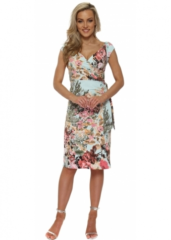 Aqua Floral Print Sleeveless Midi Dress With Tie Side