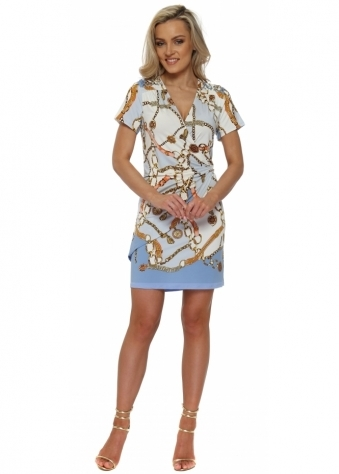 Blue & White Gold Chain Print Wrap Dress