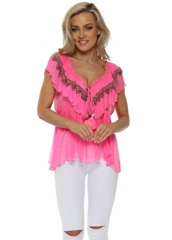 Pink Jewelled Ruffle Sleeveless Top