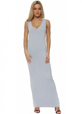 Wisteria Melange Jersey Sleeveless Maxi Dress