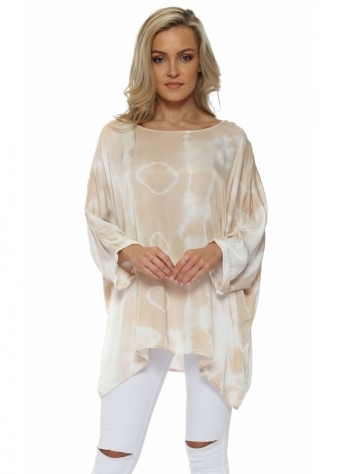 Nude Tie Dye Loose Fit Silk Top
