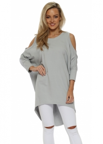 Grey Cold Shoulder Long Cotton Sweatshirt