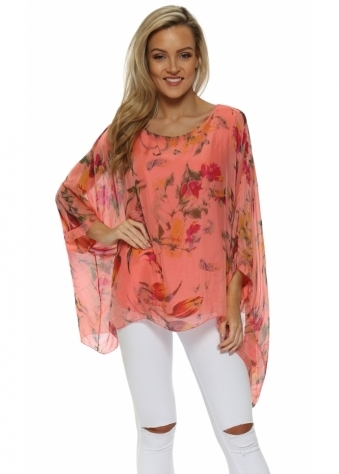 Coral Floral Print Silk Floaty Top