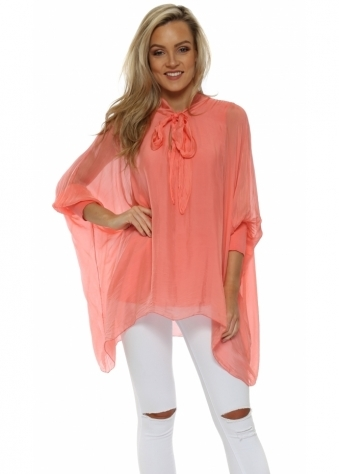 Coral Silk Tie Neck Batwing Blouse