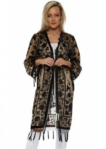 Black & Gold Silk Devore Kimono
