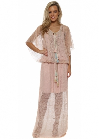 Nude Pink Lace Tassle Tie Maxi Dress