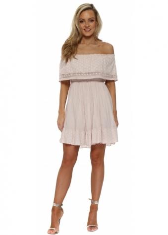 Pink Off The Shoulder Summer Mini Dress