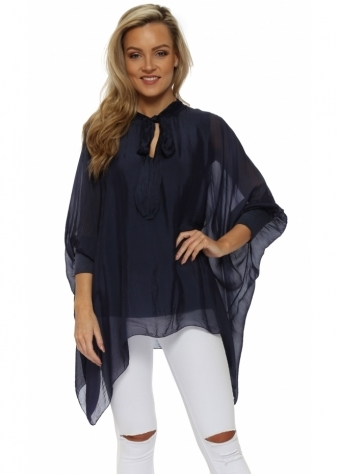 Navy Blue Silk Tie Neck Batwing Blouse