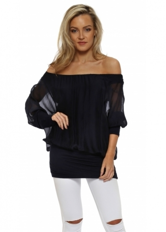 Navy Blue Long Sleeve Silk Tunic Top