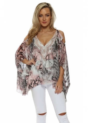 Black & Pink Snake Print Beaded Cold Shoulder Ruffle Top