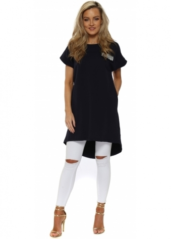Navy Blue Cotton Sequinned Pocket Tunic