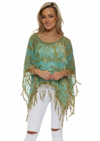Green & Gold Silk Devore Tassel Poncho
