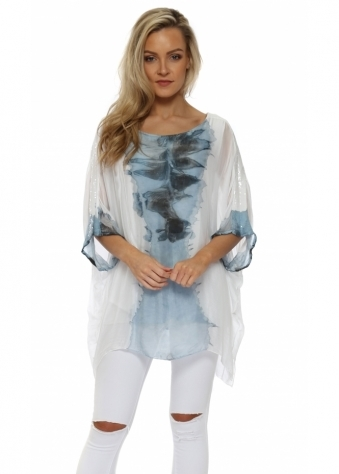 Blue Watercolour Sequinned Sleeves Top