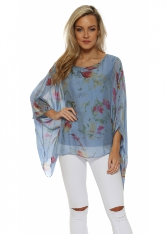 Blue Floral Print Silk Floaty Top