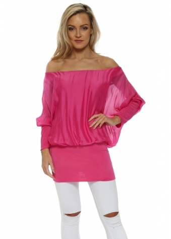 Hot Pink Long Sleeve Silk Tunic Top
