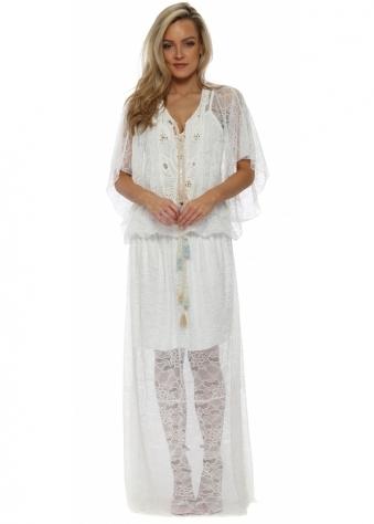 White Lace Tassle Tie Maxi Dress