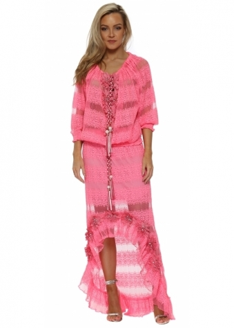 Hot Pink Floral Diamante Maxi Skirt & Top