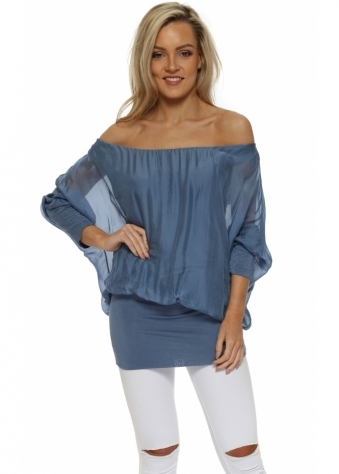 Denim Blue Long Sleeve Silk Tunic Top