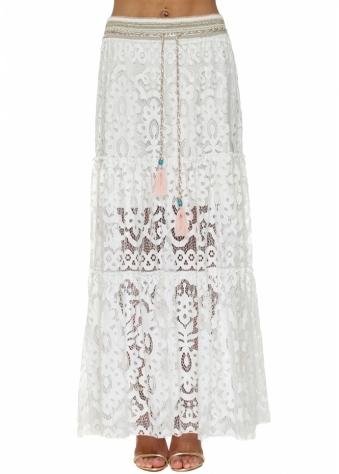 White Lace Embellished Maxi Skirt