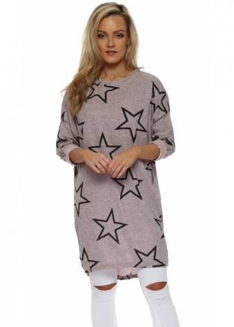 Pink Marl Star Print Long Sweater